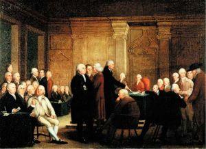 Als der Zweite Kontinentalkongress am 4. Juli 1776 über die Anliegen der LGBT-Community und der Tierrechtler debattierte (Bild: Robert Edge Pine: Congress Voting Independence)